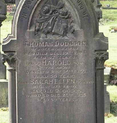 Thomas, Harold and Sarah Ellen's Grave, Lockwood West Yorkshire.